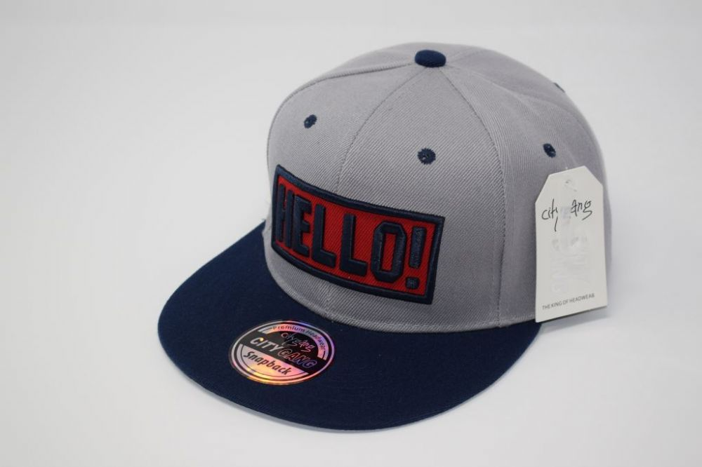 HELLO Snap back Caps  fits all sizes, 20% cotton and 80% polyester